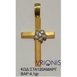 Χρυσός Σταυρός ΣΤΑ120ΑΜΑΡΓ σε Δίχρωμο Χρυσό