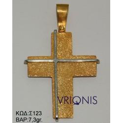 Χρυσός Σταυρός Σ123 σε Δίχρωμο Χρυσό