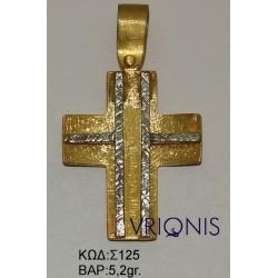 Χρυσός Σταυρός Σ125 σε Δίχρωμο Χρυσό