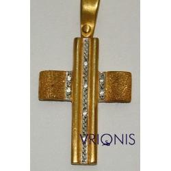 Χρυσός Σταυρός Σ131 σε Δίχρωμο Χρυσό