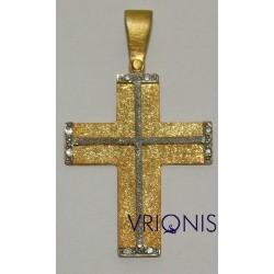 Χρυσός Σταυρός Σ134 σε Δίχρωμο Χρυσό