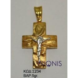 Χρυσός Σταυρός Σ234 σε Δίχρωμο Χρυσό