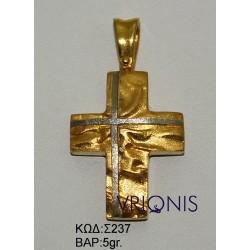 Χρυσός Σταυρός Σ237 σε Δίχρωμο Χρυσό