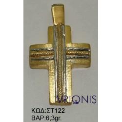 Χρυσός Σταυρός ΣΤ122 σε Δίχρωμο Χρυσό