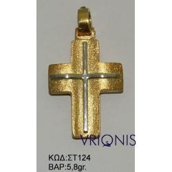Χρυσός Σταυρός ΣΤ124 σε Δίχρωμο Χρυσό