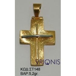 Χρυσός Σταυρός ΣΤ148 σε Δίχρωμο Χρυσό