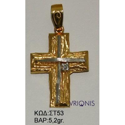 Χρυσός Σταυρός ΣΤ53 σε Δίχρωμο Χρυσό