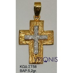 Χρυσός Σταυρός ΣΤ58 σε Δίχρωμο Χρυσό