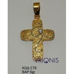 Χρυσός Σταυρός ΣΤ6 σε Δίχρωμο Χρυσό
