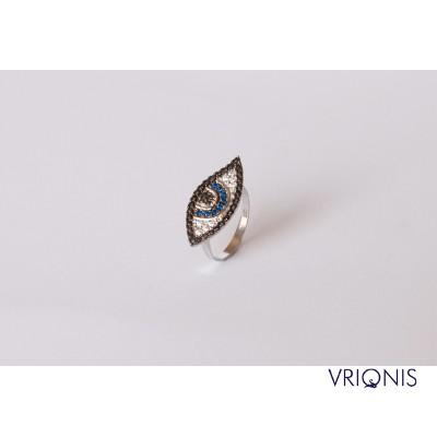 R232wH - Ασημένιο Δαχτυλίδι 925 με Μάτι, Επιπλατινωμένο