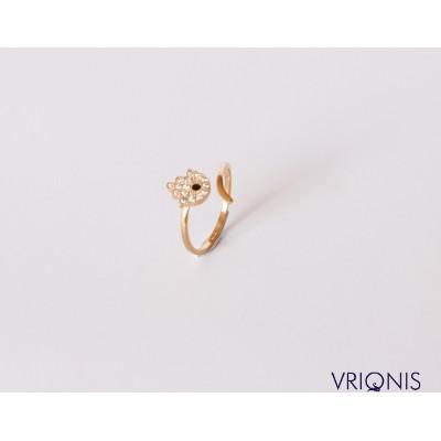 R224yH - Ασημένιο Δαχτυλίδι 925 Επιχρυσωμένο με Κίτρινο Χρυσό