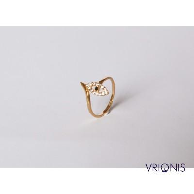 R237yH - Ασημένιο Δαχτυλίδι 925 με Μάτι, Επιχρυσωμένο με Κίτρινο Χρυσό