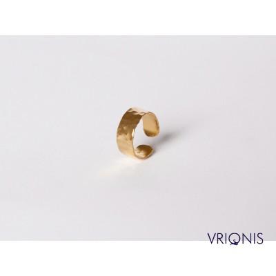 R246yH - Ασημένιο Δαχτυλίδι 925 Επιχρυσωμένο με Κίτρινο Χρυσό