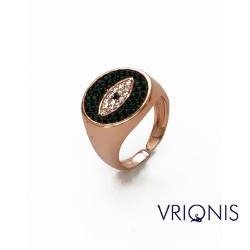 R104r | Ασημένιο Δαχτυλίδι Επιχρυσωμένο με Ροζ Χρυσό