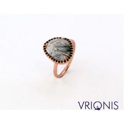 R120rG | Ασημένιο Δαχτυλίδι Επιχρυσωμένο με Ροζ Χρυσό