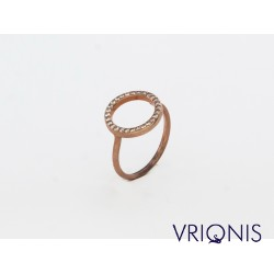 R141rC | Ασημένιο Δαχτυλίδι Επιχρυσωμένο με Ροζ Χρυσό