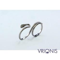 R163wK | Επιπλατινωμένο Ασημένιο Δαχτυλίδι