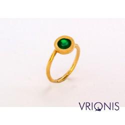 R175gA | Ασημένιο Δαχτυλίδι Επιχρυσωμένο με Κίτρινο Χρυσό