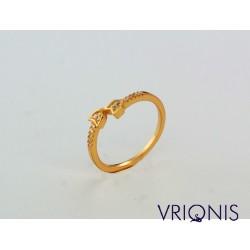 R177gC | Ασημένιο Δαχτυλίδι Επιχρυσωμένο με Κίτρινο Χρυσό