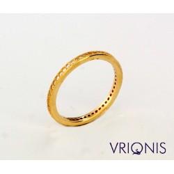R178gC | Ασημένιο Δαχτυλίδι Επιχρυσωμένο με Κίτρινο Χρυσό