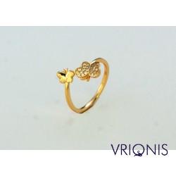 R180gC | Ασημένιο Δαχτυλίδι Επιχρυσωμένο με Κίτρινο Χρυσό