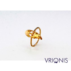 R187gK | Ασημένιο Δαχτυλίδι Επιχρυσωμένο με Κίτρινο Χρυσό